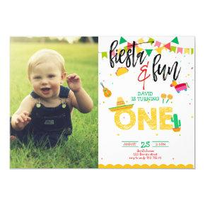 Boy First Fiesta Birthday Photo Picture Invitation