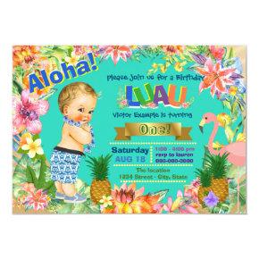 Boy Hawaiian Luau Birthday Party Invitations