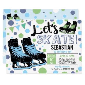 Boy Ice Skating Invitation Ice Skating Party Blue