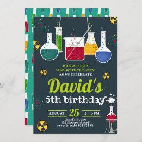 Boy Mad Scientist Caution Birthday Party Invitation