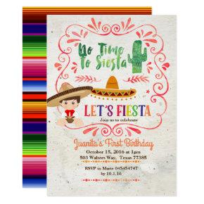 Boy Mexican Fiesta 1st Birthday Invitation