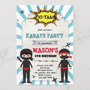 Boy ninja karate birthday party invitation