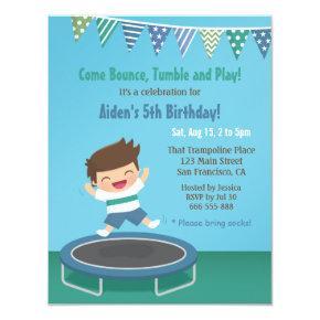 Boy on Trampoline Kids Birthday Party Invitations