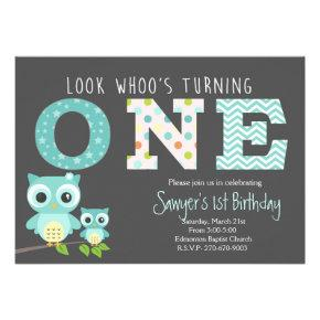 boy Owl First Birthday -Look whoo is turning one Card