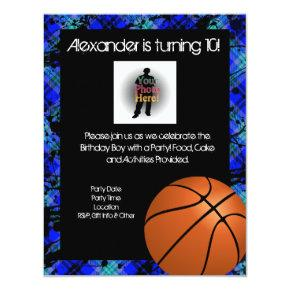 Boy Personalized Basketball B-Day Party Invitation
