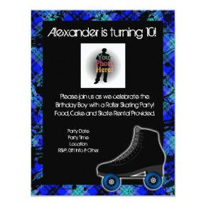 Boy Personalized Roller Skating Party Invitations