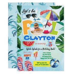 Boy pool party birthday photo invitation any age