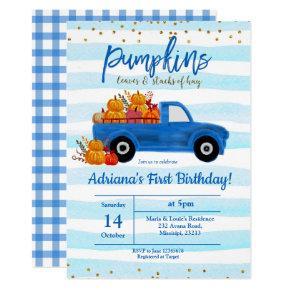 BOY Pumpkin Birthday Invitation autumn blue