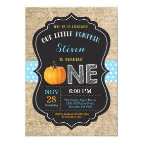 Boy Pumpkin First Birthday Invitations Burlap