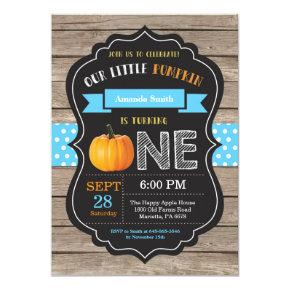 Boy Rustic Pumpkin First Birthday Invitation