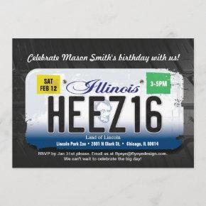Boy's 16th Birthday Illinois License Invitation