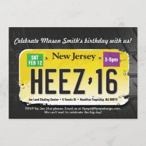 Boy's 16th Birthday New Jersey License Invitation