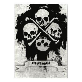 Boys 16th Birthday Party Gothic Skulls Invitation