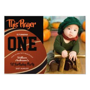 BOYS 1st Birthday Basketball Invites ADD PHOTO