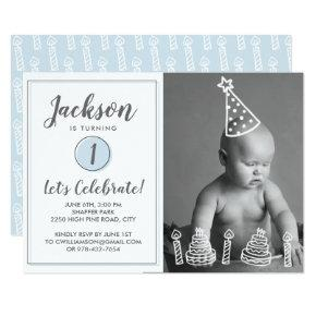 Boy's 1st Birthday Party Photo Candles Cake Invitations