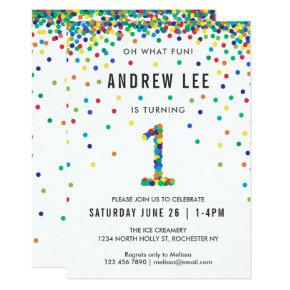 Boys 1st Birthday Party, Primary Color Confetti Invitation