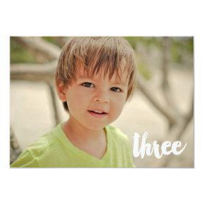 Boys 3rd Birthday Number Three Photo Overlay Invitation
