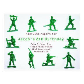 Boys Army Theme Birthday Invitations