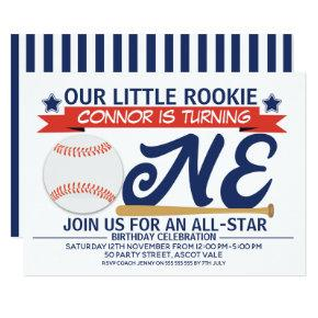 Boy's Baseball 1st Birthday Party Invitation