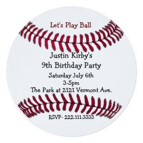 Boy's Baseball Birthday Party Invitations