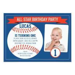 Boys Baseball Sports 1st Birthday Party Invitations