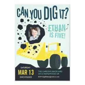Boys Birthday Construction Truck Blue Yellow Invitation