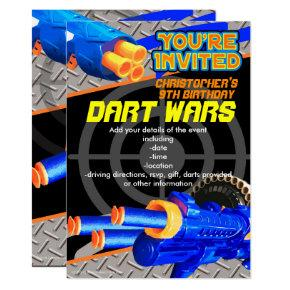 Boys Birthday Party Invitation Dart Wars