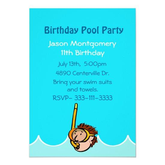 Boys Birthday Pool Party Invitations
