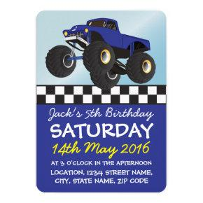 Boys Blue Monster Truck Personalized Birthday Invitations