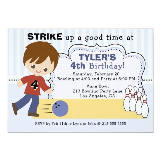Boys Bowling Alley Birthday Party Invitation