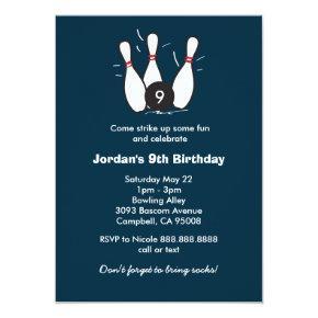Boy's Bowling Birthday Party Invitation