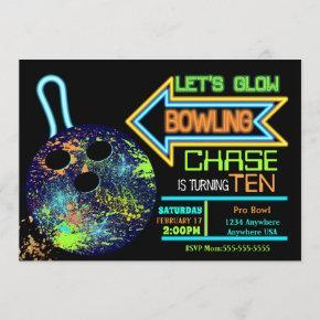 Boys Bowling party, Birthday Neon glow bowling Invitation