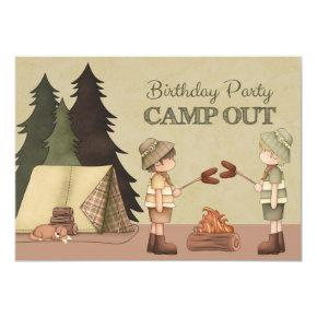 Boys Camp Out Birthday Party Invitation