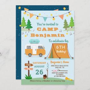 Boys Camping Birthday Outdoors Camp Out Party Invitation