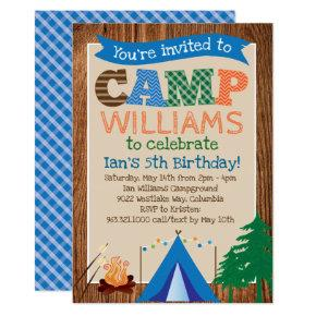 Boys Camping Birthday Party Invitation