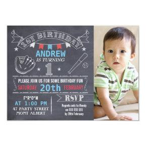 Boys Chalkboard Baseball 1st Birthday Invitation