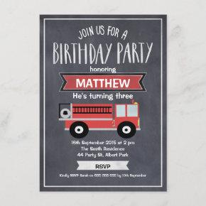Boys Chalkboard Fire Engine Birthday Invitation