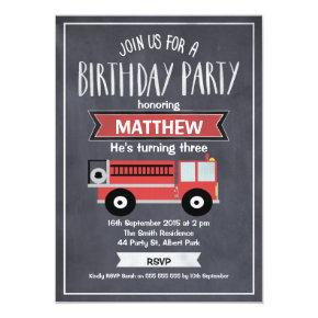 Boys Chalkboard Fire Engine Birthday Invitations