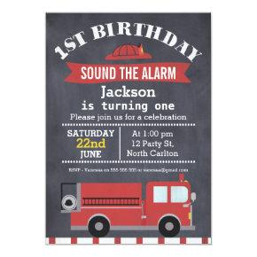 Boys Chalkboard Fire Truck 1st Birthday Invitations
