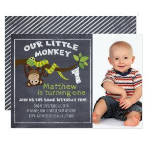 Boys Chalkboard Monkey 1st Birthday Invitations