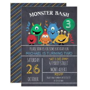 Boys Chalkboard Monster Bash Birthday Invitations