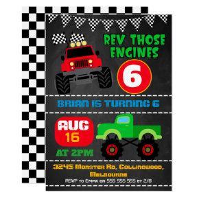 Boys chalkboard monster trucks birthday invitation
