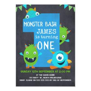 Boys Chalkboard Monsters 1st Birthday Invitations
