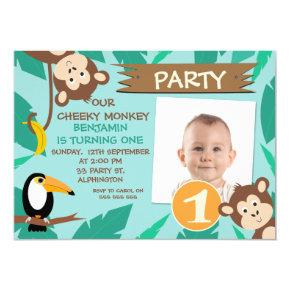 Boys Cheeky Monkey Photo 1st Birthday Invitation