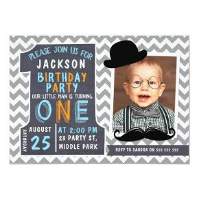 Boys Chevron Little Man 1st Birthday Invitations