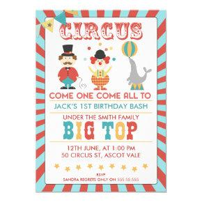 Boys Circus Birthday Party Invitation