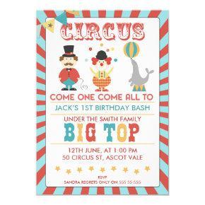 Boys Circus Birthday Party Invitation