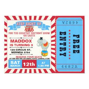 Boys Circus Ticket Birthday Party Invitation