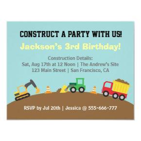 Boys Construction Vehicles Theme Birthday Party Invitations