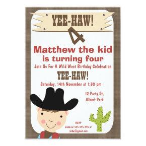 Boys Cowboy And Cactus Birthday Party Invitations